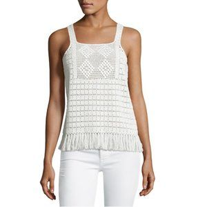 Joie Zaylee Crochet Sleeveless Fringe-Hem Top